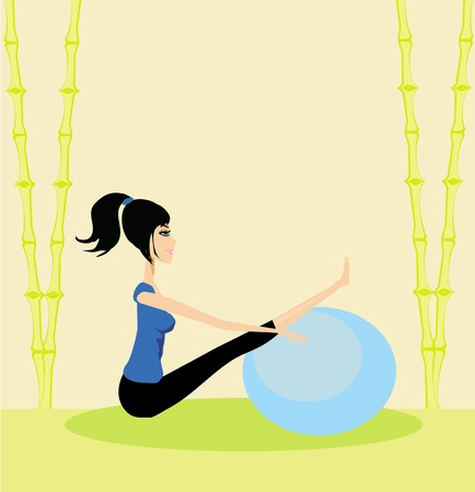 girl in a pilates studio  Vector
