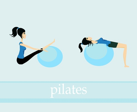 pilates exercise set Vector