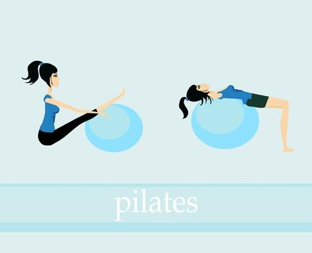 abdominal exercise: pilates exercise set Illustration