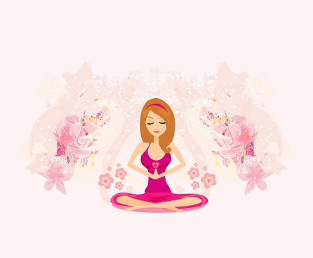 Yoga girl in lotus position Stock Vector - 13343087