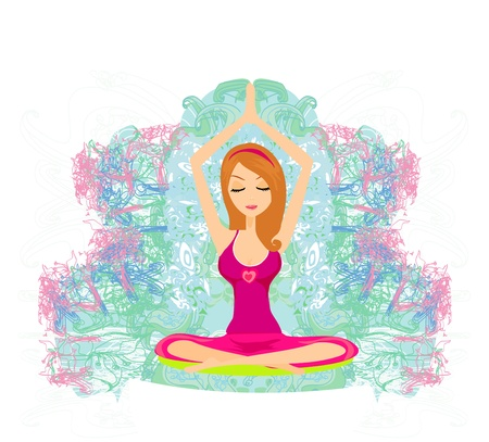 Yoga girl in lotus position Stock Vector - 13343140