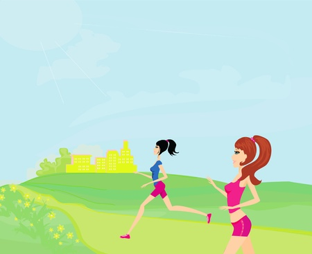 fatness: Jogging girls in summer