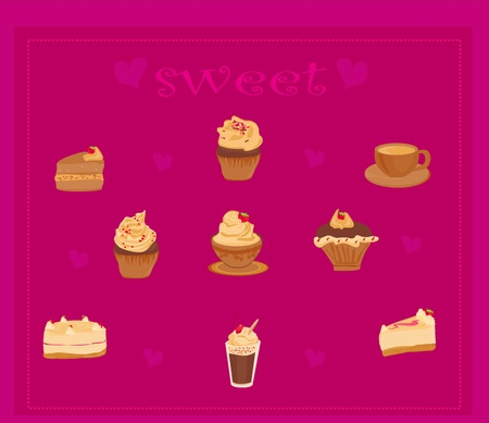 sweet dessert background Stock Vector - 13381275
