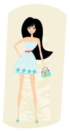 woman holding bag: Elegant shopping woman illustration  Illustration