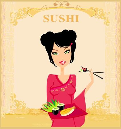 beautiful Asian girl enjoy sushi - menu template Stock Vector - 13380586
