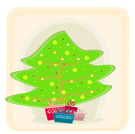 Abstract christmas tree card Stock Vector - 13381276