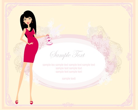 Beautiful pregnant woman on shopping for her new baby Vector Illustration  Stock Vector - 13376078