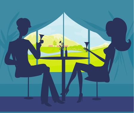 dinning table: Young couple flirt and drink champagne  Illustration