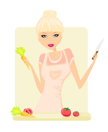 Beautiful lady cooking in kitchen  Vector