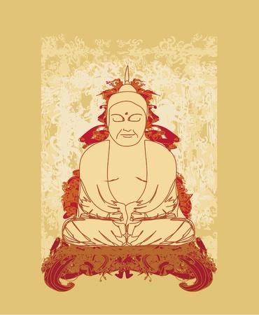 budda: Chinese Traditional Artistic Buddhism Pattern  Illustration