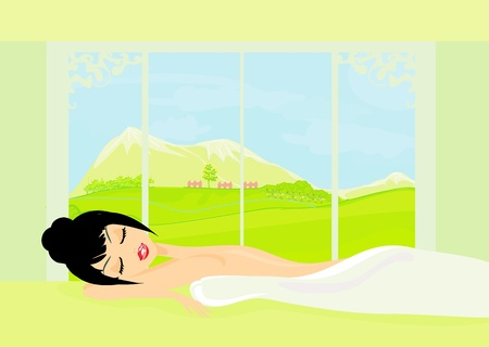 hair mask: pretty girl enjoying elegant spa