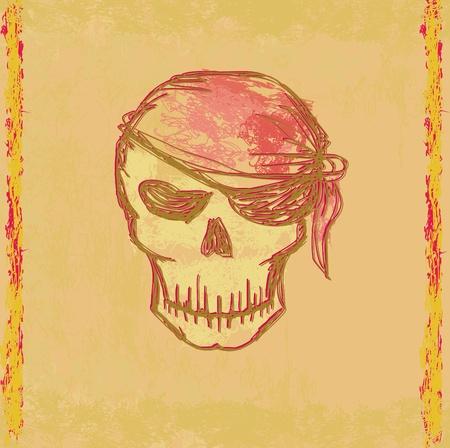 Skull Pirate - retro card  Stock Vector - 13492728