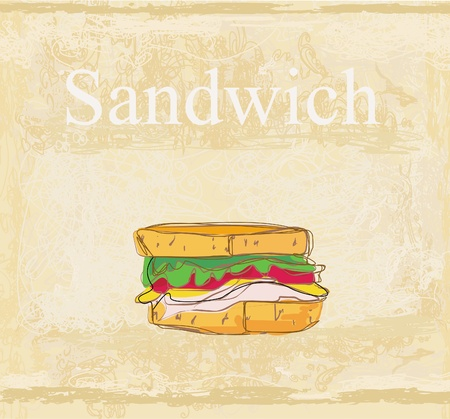 Horizontal grunge background with sandwich  Stock Vector - 13492699