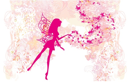 fantasy creature: floral background with a beautiful fairy