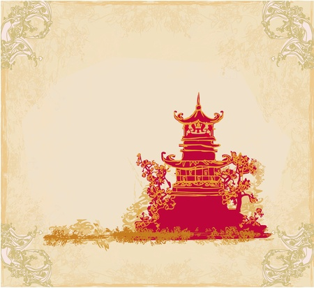 old paper with Asian Landscape Stock Vector - 13492759