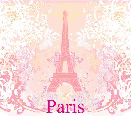 vintage paris: vintage retro Eiffel card  Illustration