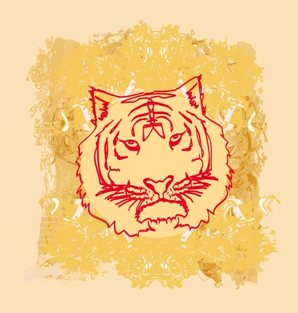 abstracted: Abstracted grunge Tiger illustration  Illustration