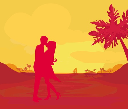 silhouette couple kissing on tropical beach Stock Vector - 13571337