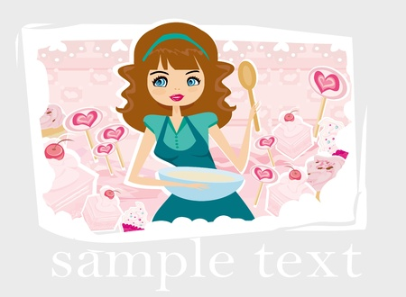 rich girl: Beautiful lady cooking cakes  Illustration