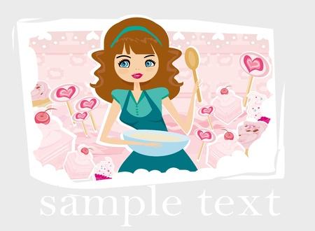 chocolate truffle: Beautiful lady cooking cakes  Illustration