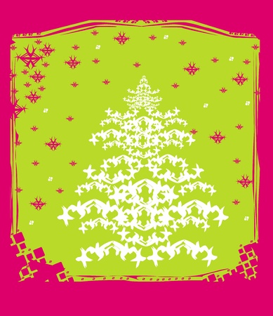 Abstract christmas tree card Stock Vector - 13571373
