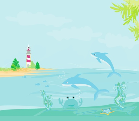 lighthouse seen from a tiny beach and dolphins Stock Vector - 13571368