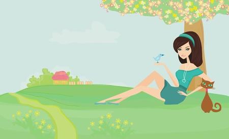 azal�e: Belle fille et son chat dans le jardin Illustration