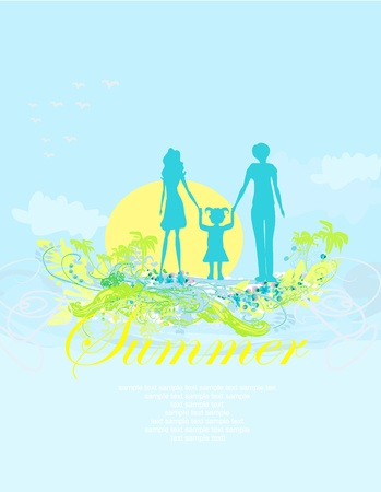 Family silhouette over tropical background  Vector