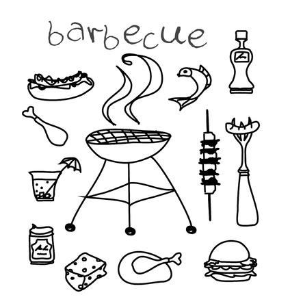 chorizos asados: Barbacoa conjunto de iconos vectoriales garabato