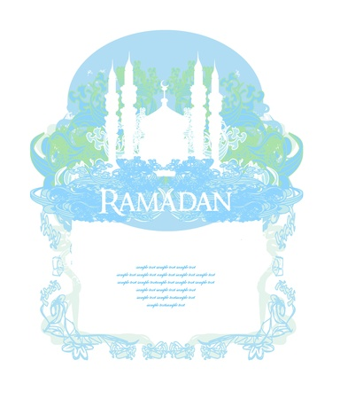 feter: Ramadan background - mosque silhouette vector card