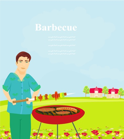 man cooking on his barbecue  Vector