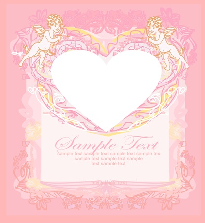 happy valentines day card with cupid Stock Vector - 13578762