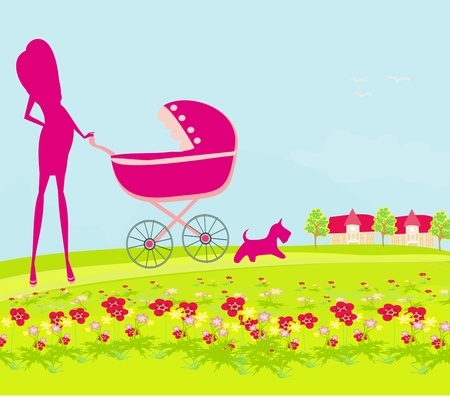 beautiful pregnant woman pushing a stroller walking with her dog in a park Vector