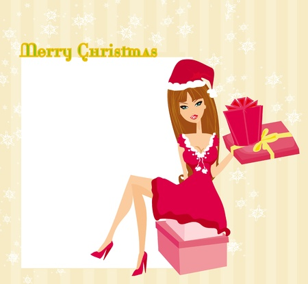 beautiful pin-up girl in Christmas inspired costume  Vector