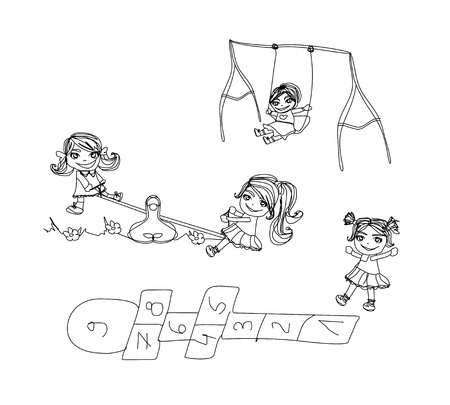 Little kids play on the playground - doodles set Stock Vector - 13625554