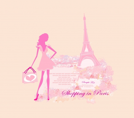 beautiful women Shopping in Paris - vector card Stock Vector - 13625583