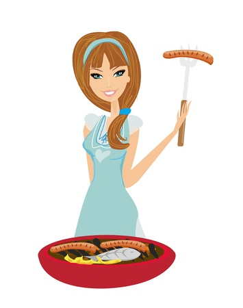 Woman cooking on a grill Stock Vector - 13641985