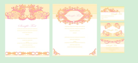 Stylish Wedding templates set  Vector
