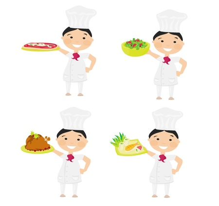 Cheerful chef serving dishes  Stock Vector - 13641983