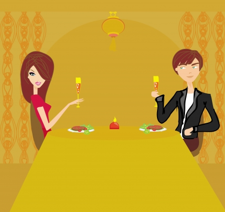 proposing a toast: Young couple flirt and drink champagne  Illustration