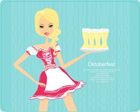 Oktoberfest waitress  Vector