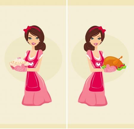 Piękna kelnerka serwuje kurczaka i ciasto