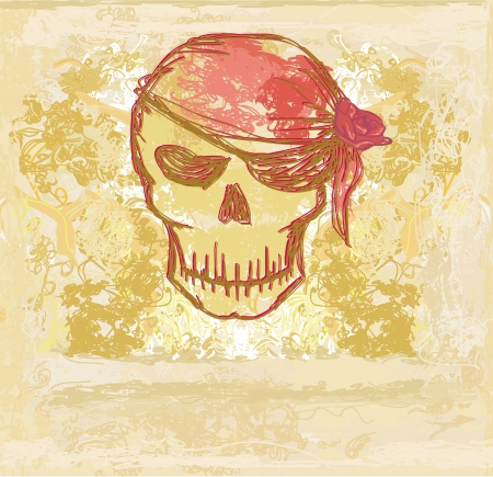 Skull Pirate - retro card Stock Vector - 13662463