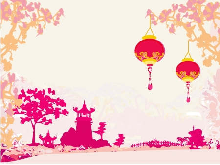 china landscape: old paper with Asian Landscape and Chinese Lanterns - vintage japanese style background  Illustration