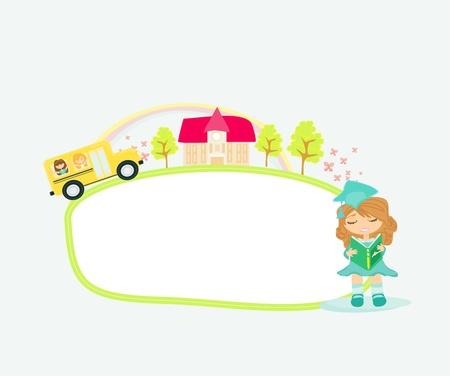 autobus scolaire rubrique à l'école avec des enfants heureux - cadre