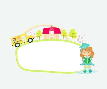 school bus heading to school with happy children - frame Vector