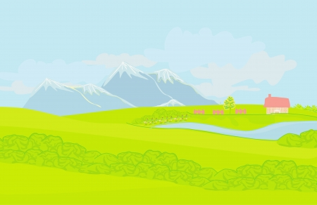 Beautiful mountains landscape - vector illustration  Vector