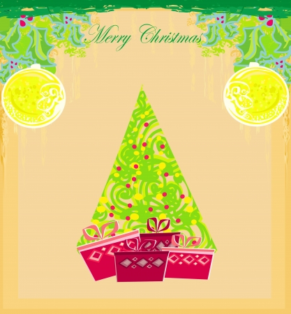 Abstract christmas tree card  Stock Vector - 13702865