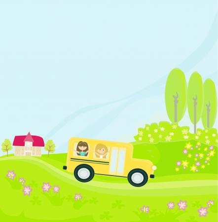 school bus heading to school with happy children Stock Vector - 13720637