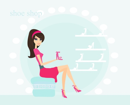 Fashion girl shopping in shoe shop  vector illustration  Vector